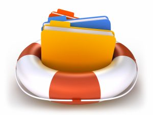Data folders in life buoy - rescuing your files concept - isolated on white with clipping path