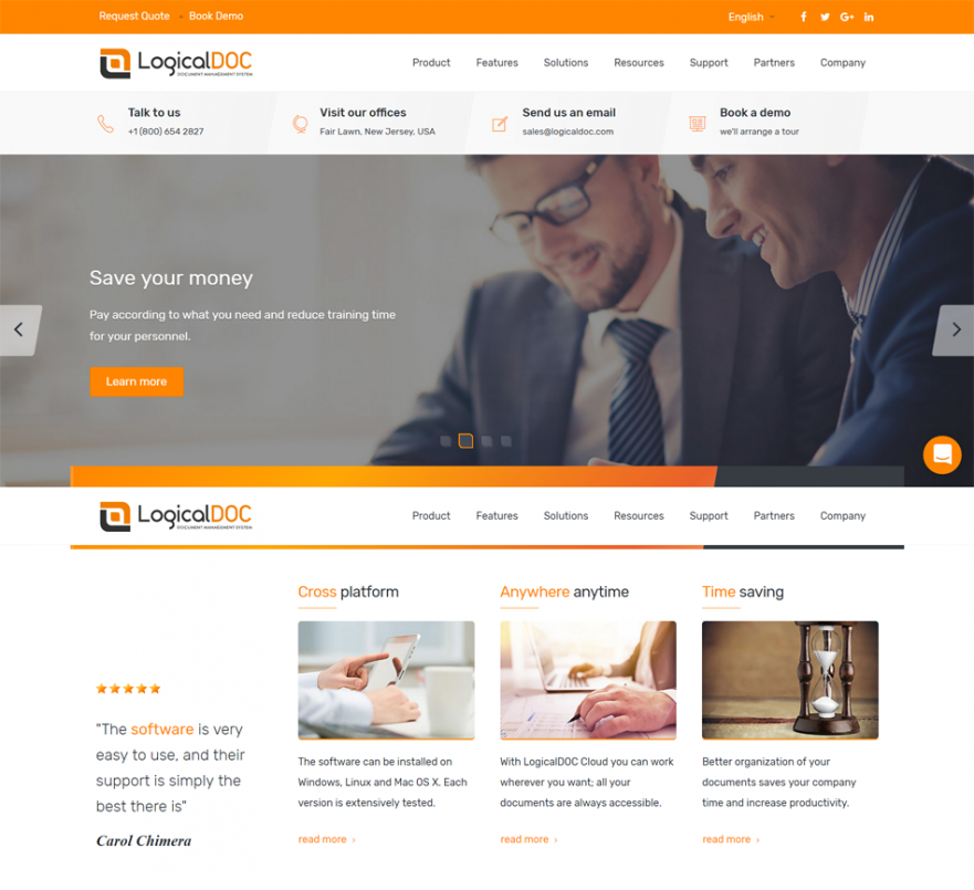 LogicalDOC new website preview top 50p